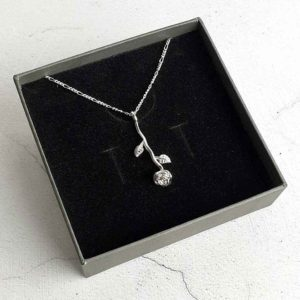 Rose Silver Pendant on Silver Chain For Birthday, Valentines Day, Bride, Bridesmaid, Mother & Mother Of The Bride Pendant Necklace with Gift Wrapping.