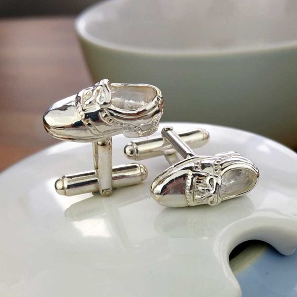 Golf Shoe Silver Cufflinks For Golfers. Hallmarked Silver & Handmade Golfing Cufflinks in Luxury Box with optional Gift Wrapping