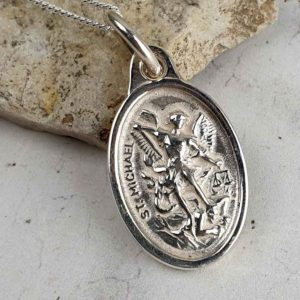Saint Michael and Guardian Angel Silver Medal Pendant on 18inch silver chain. Faith jewellery featuring St Michael on the front and Guardian Angel on back.