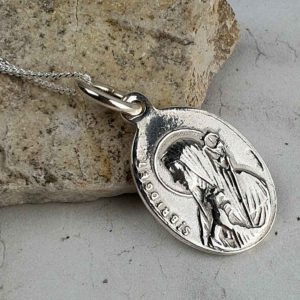 Saint Bridget & Saint Patrick Silver Medal Pendant on 18inch silver chain with optional gift wrapping. Faith jewellery featuring St Patrick & St Bridget, Ireland