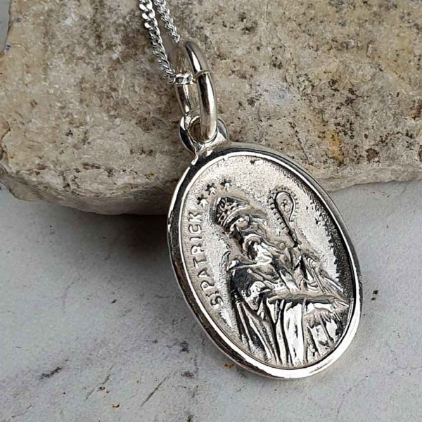 Saint Patrick & Saint Bridget Silver Medal Pendant on 18inch silver chain with optional gift wrapping. Faith jewellery featuring St Patrick & St Bridget, Ireland