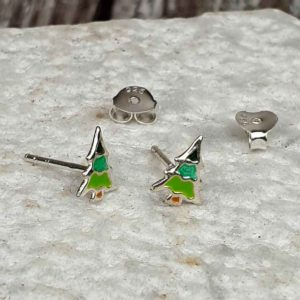 Christmas Tree Earrings In Sterling Silver with Optional Gift Wrapping Delivered Direct to your loved one. Colourful Sterling Silver Christmas Tree Earrings.