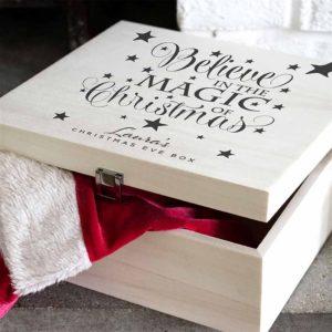 Personalised Christmas Eve Box. Magic Of Christmas For Girls & Boys Personalised with Name. Christmas Eve Box Engraved Name of Child, Boy, Girl or Grandkids.