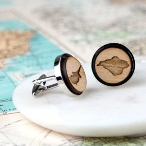 Personalised Map Cufflinks Handmade In Cherry Wood supplied in gift box with hand tied ribbons. Laser engraved County, Country or Island Map Cufflinks.