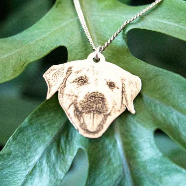 "Pet Photo Pendant - Pet Silhouette Shaped Engraved Photo Pendant Necklace on 18"" silver chain in 925 Silver with Free Engraving on back for cat, dog, rabbit..."