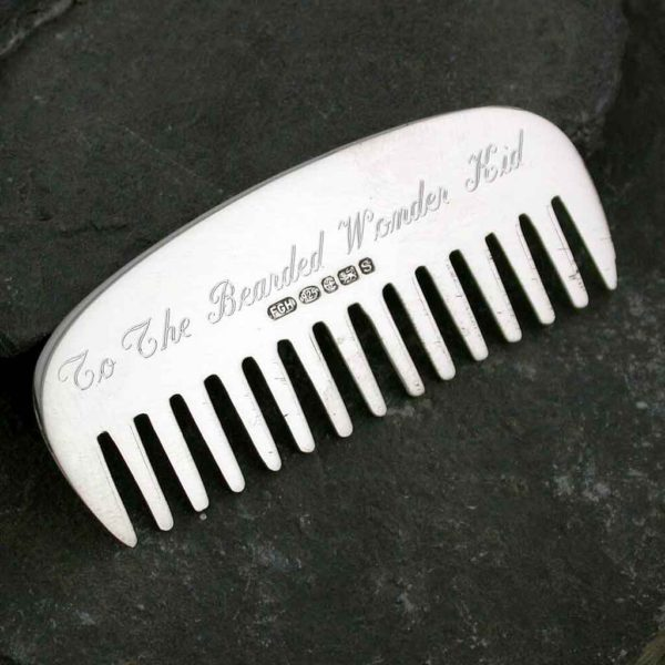 Personalised Moustache And Beard Comb in Hallmarked Handmade Sterling Silver with Free personalised engraving & optional gift wrapping, delivered direct.