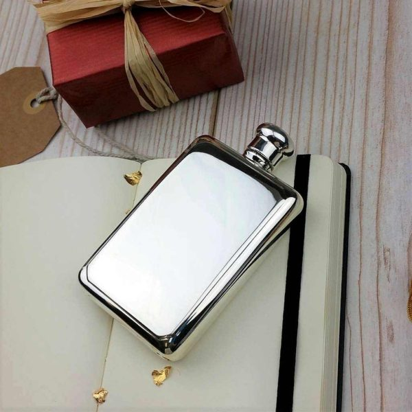 Sterling Silver Hip Flask with Free Personalised Engraving. Hallmarked 925 Solid Silver Hip Flask engraved FREE with Optional Gift Wrapping, Delivered Direct.