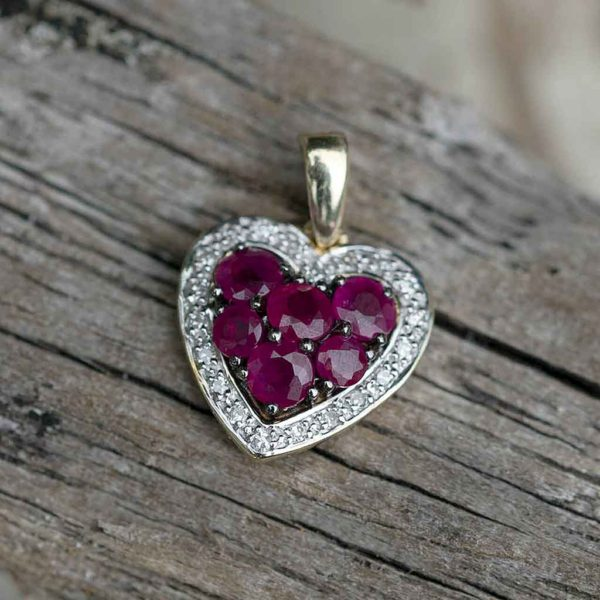 Ruby and Diamond Gold Heart Necklace in personalised gift box. Stunning Rubies & Diamonds set in 9K Yellow Gold Pendant on 9K Yellow Gold Chain.