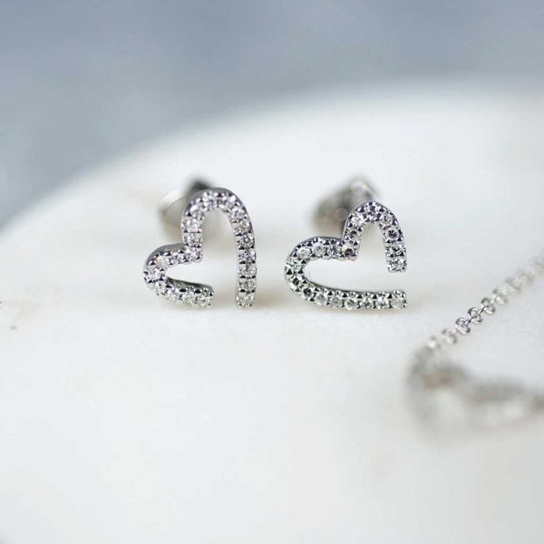 White Gold Diamond Heart Earrings in personalised gift box. 40 Brilliant Cut Diamonds total 0.16ct in 9K White Gold for Bride, Christmas, Anniversary & Birthday