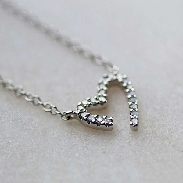 White Gold Diamond Heart Necklace in personalised gift box. Stunning 0.11ct Diamond & Gold Pendant on Gold Chain for Christmas, Anniversary & Birthday.