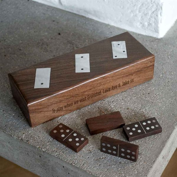 Domino Set Personalised with Free Engraving, Handcrafted in sustainable Sheesam & Mango Woods with aluminium inlaid spots engraved with up to 50 Letters