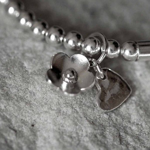 Handmade Sterling Silver Bead Stretch Bracelet with Silver Pendant, Personalised Engraving in Gift Box. Optional Heart Charm & Flower Charm upgrade.