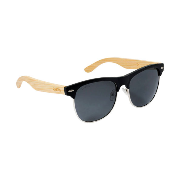 Wood Sunglasses in Sustainable Bamboo. Half-Rim Sunglasses with Black Polarized Lenses, Cork Glasses Case & Cloth. Irish Design & Shipped From Ireland.