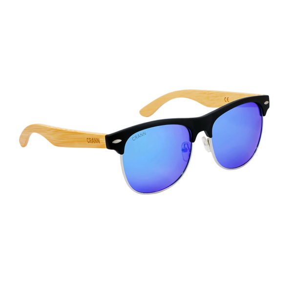 Wood Sunglasses in Sustainable Bamboo. Half-Rim Sunglasses with Blue Polarized Lenses, Cork Glasses Case & Cloth. Irish Design & Shipped From Ireland.