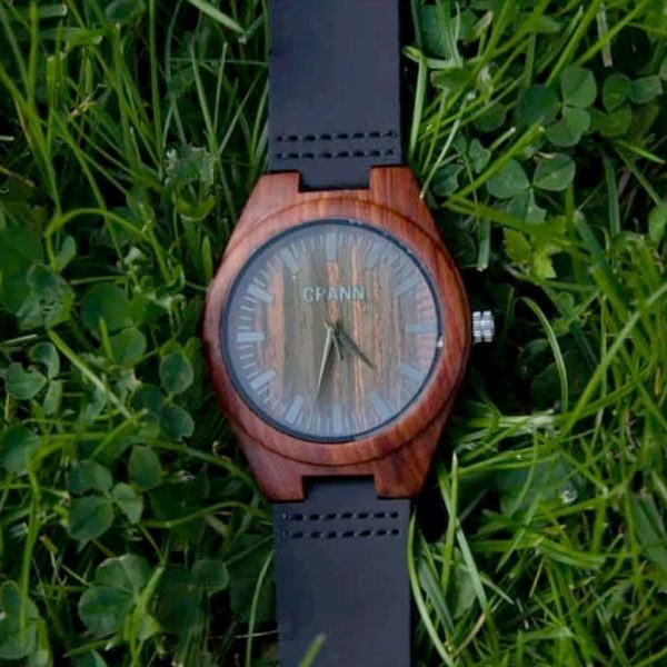 Wooden Watch In Red Sandalwood With Black Leather Strap for Men & Women. Handmade & Irish Designed, Eco Friendly Unisex Wood Watch. Ships from Ireland. - Fios