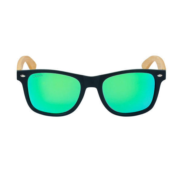 Mens Wooden Sunglasses. Irish Wayfarer Style Wood Sunglasses with Green Lens Handmade in Recycled Bamboo with Case & Cloth. Shipped from Ireland.
