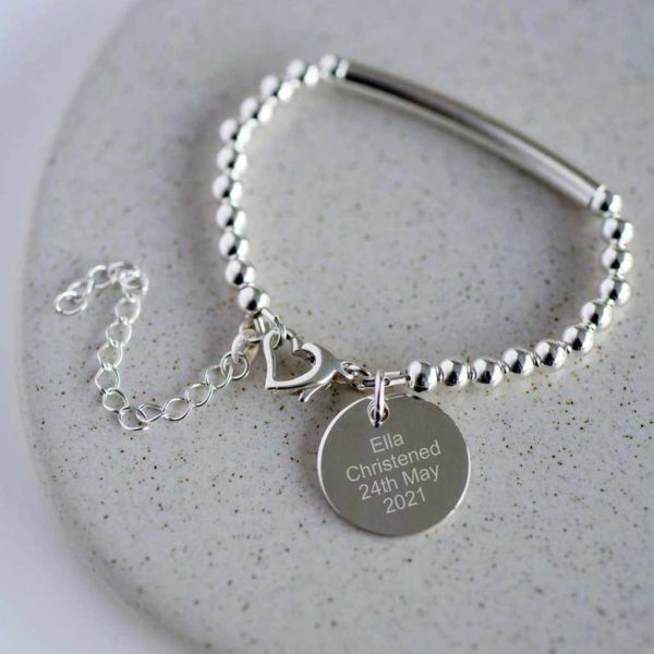 Personalised Silver Baby Christening Bracelet With Free Double Side Engraving & Personalised Gift Box. Baby Christening & Baptism Bangle In Sterling Silver.