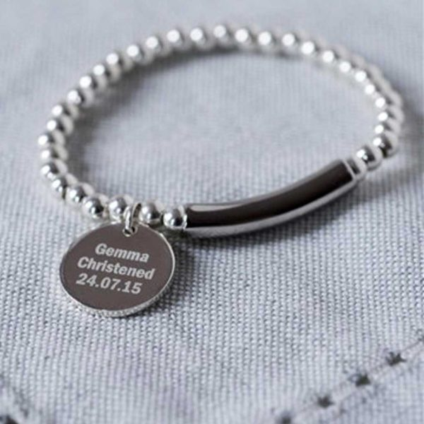 Handmade Silver Christening Bracelet in Personalised Gift Box with Free Pendant Engraving. Optional Baby Elasticated Bracelet Heart, Star & Flower Charms.