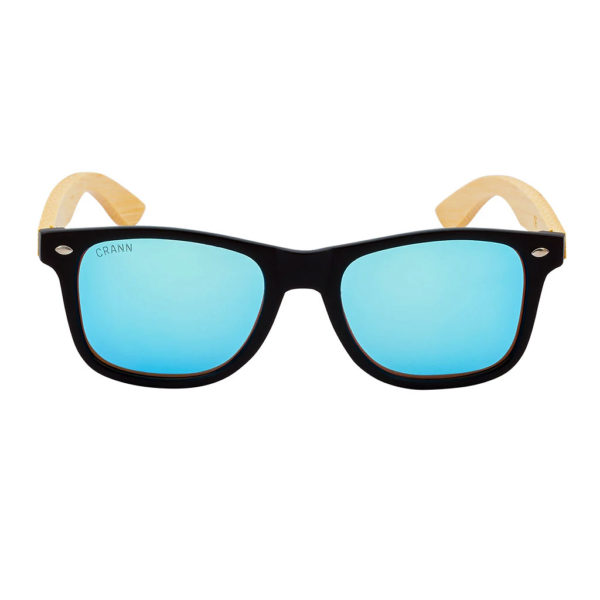 Mens Wooden Sunglasses. Wayfarer Style Wooden Sunglasses with Blue Lens Handmade in Recycled Bamboo with Case & Cloth shipped from Ireland.