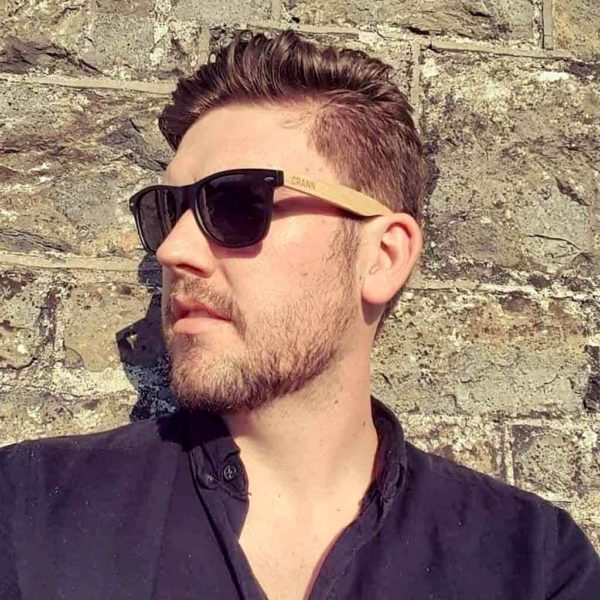 Mens Sunglasses. Black & Bamboo Eco-Friendly Sunglasses For Men Handmade in 100% Recycled Materials with Case & Cloth shipped from Ireland.