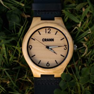 Mens Wooden Watch In Sustainable Eco Friendly Bamboo. Handmade Irish Designed, Recycled, Personalised Wood Watch with Black Strap Shipped from Ireland.