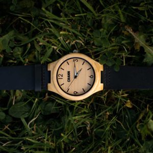 Mens & Womens Wooden Watch In Sustainable Eco Friendly Bamboo. Handmade Irish Designed, Recycled, Personalised Wood Watch with Black Strap Shipped from Ireland.