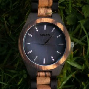 Mens Wood Watch Ireland Handmade In Eco Friendly Ebony & Zebra Wood. Recycled & Sustainable Irish Mens Watch, Designed in & Shipped from Ireland.
