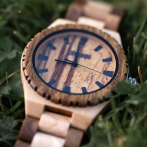 Mens Wooden Watch In Recycled Eco Friendly Maple & Green Sandalwood. Handmade Irish designed watch for men shipped from Ireland. Sustainable & Ethical.