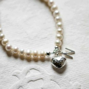 Freshwater Pearl Bracelet With Sterling Silver Initial & Silver Heart In Personalised Gift Box Engraved with 75 characters of your choice & Free Engraving.