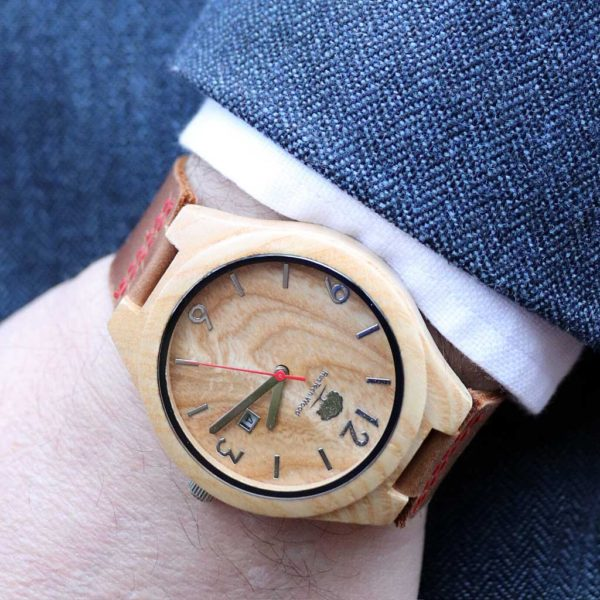 Handmade Irish Wooden Mens Watch in Ash Wood sourced & Handcrafted in Galway, Ireland. Unique Irish Made Watch Shipped from Ireland.