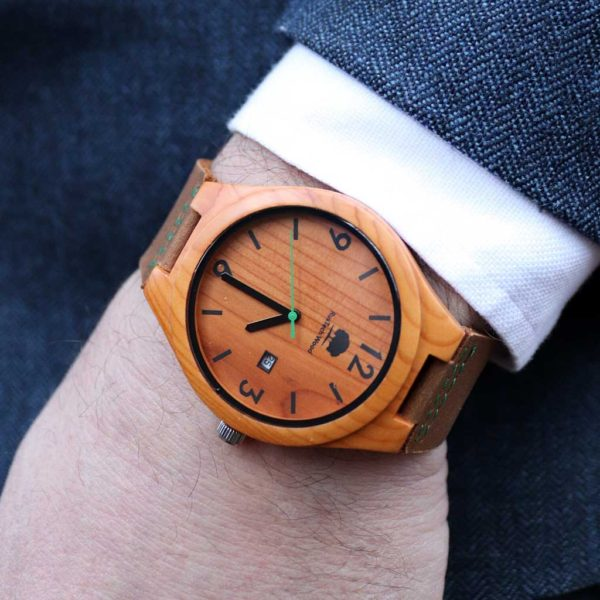 Handmade Irish Wooden Mens Watch in Yew Wood sourced in Castlemartyr, Co Cork, Ireland & Handcrafted in Galway. Unique Watch Shipped from Ireland.
