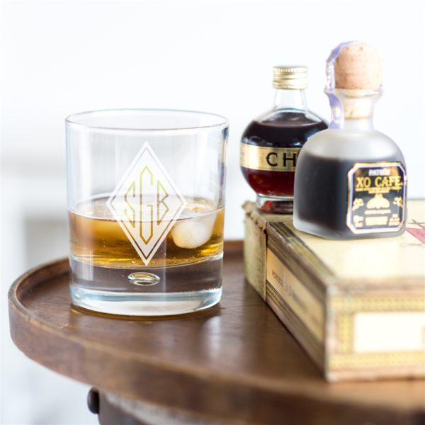Whiskey Glass Tumblers Personalised with Engraved Monogram. Contemporary Heavyweight Whisky Glass engraved with a Monogram up to Three Initials.