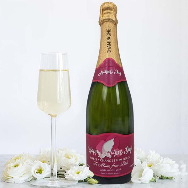 Personalised Mother's Day Champagne Bottle Gift available in Classic Brute, Rosé and Premium Champaign personalised on Top and Main Bottle Label.