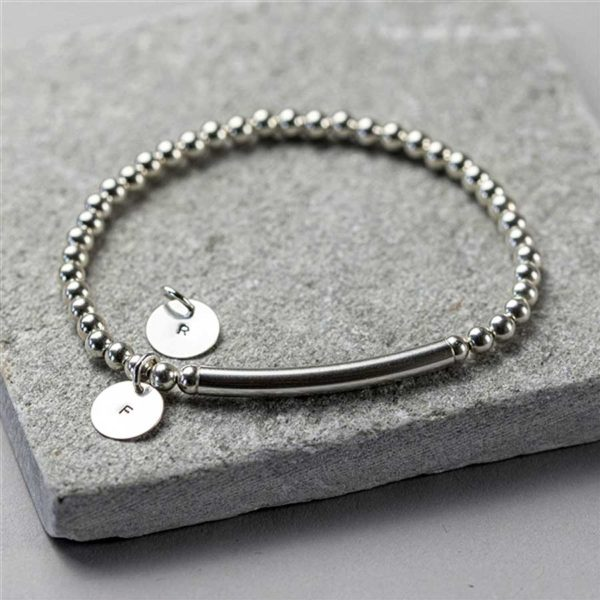 Handmade Sterling Silver Bead Stretch Bracelet with Hand Stamped Initial Silver Pendant in Personalised Engraved Gift Box.