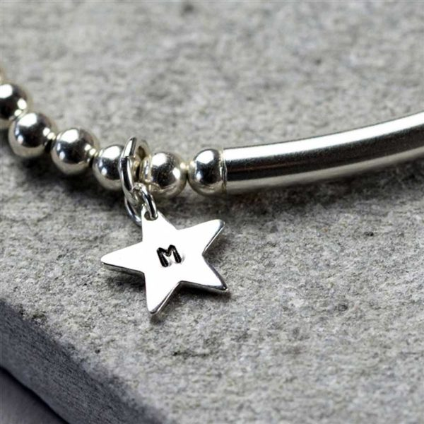 Personalised Initial Star Pendant on Sterling Silver Bead Stretch Bracelet in Personalised Engraved Gift Box. Handmade to order in three silver bracelet sizes.