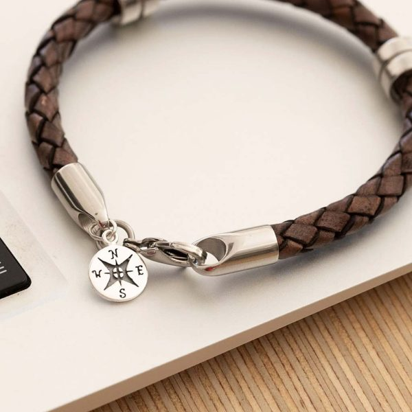 Personalised Mens Silver Compass Pendant Leather Wristband, personalised gift box with choice of Black Or Brown Leather wristband bracelet with Engraving.