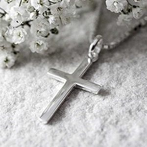 Silver Cross Necklace on Silver Box Chain in Personalised Gift Box for Communions, Confirmations, Weddings, Mum & more engraved with Free Engraving.