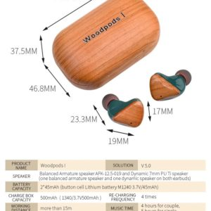 Wireless Bluetooth Wooden Ear Bud Earphones In FSC Wood. TWS, 300 Hrs Standby, Bluetooth v5.0, Charge 1 Hr, 4+ Hrs Music Time at 15m. Ships From Ireland.