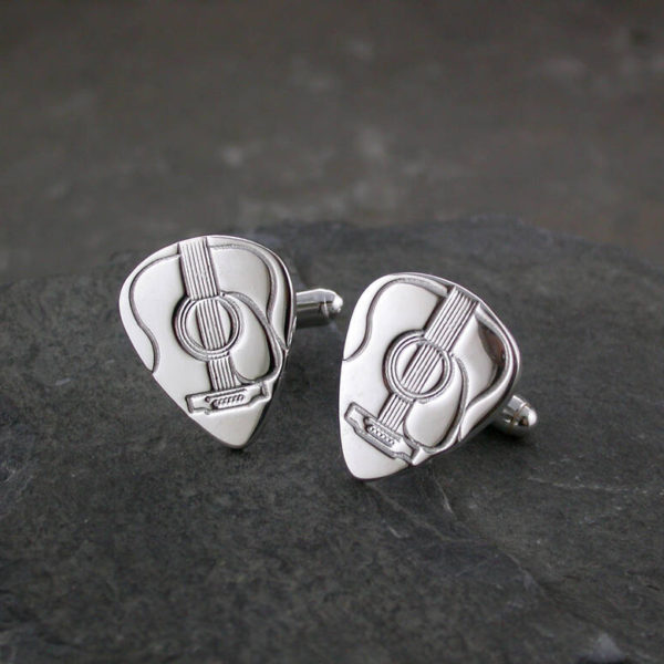 Acoustic Guitar Pick Silver Cufflinks For Guitar Players. Handmade & Hallmarked Sterling Silver Plectrum Pick Cufflinks for Acoustic Guitar Players.