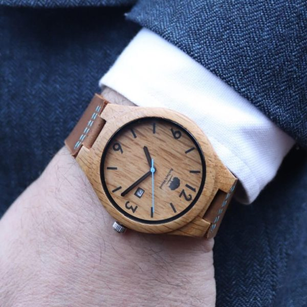 Irish Made Mens Oak Wood Watch. Irish Oak Mens Wooden Watch Handmade In Galway Of Sustainable Wood sourced Galway, Ireland. Irish wood watch for men shipped from Ireland.