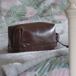 Handmade Leather Washbag Personalised For Dad