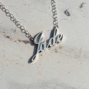 Personalised Name Necklace Handmade To Order in Sterling Silver on 20