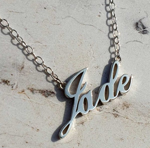 "Personalised Name Necklace Handmade To Order in Sterling Silver on 20"" Silver Chain that simply Oozes Quality with its Beautifully Polished External Edges & Smooth Curves. Commission your Name Pendant with up to 8 Letters."