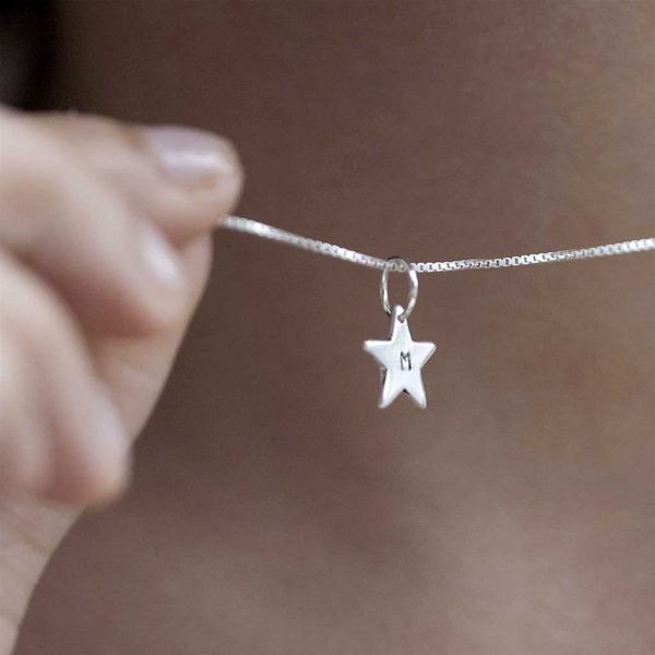 Personalised Initial Star Pendant on Sterling Necklace in Personalised Engraved Gift Box. Hand Stamped Initial to order with choice of 2 silver box chain sizes.