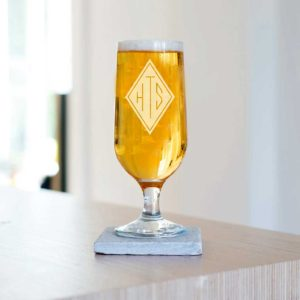 Monogrammed Craft Beer Glass Laser Engraved With 3 Initials. Stemmed Craft Beer Glass with Personalised Engraving for Dad, Father's Day, Brother & Grandad.
