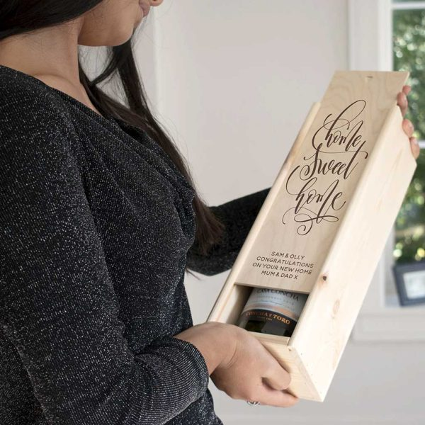 """New Home & Housewarming Wine Bottle Box Personalised with Engraved Message up to 40 Characters and the words """"Home Sweet Home"""" for House Warming"""