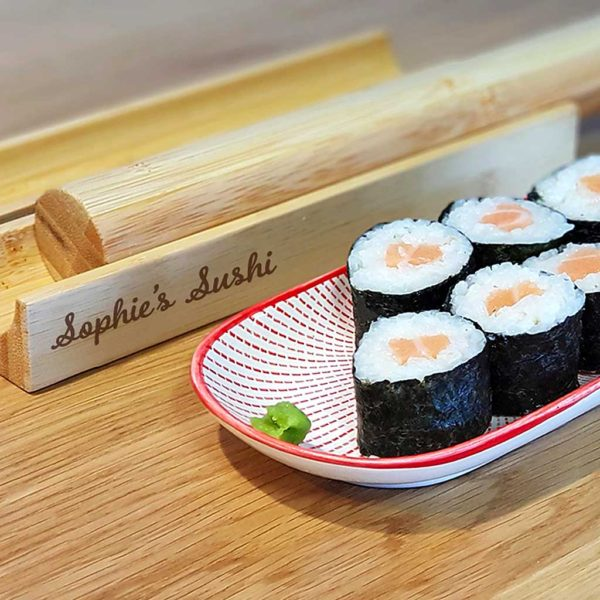 Sushi Kit with Personalised Engraving of 20 Characters. Engraved Sushi Making Set Kit for Homemade Sushi includes includes mould, press & pushrod. ShopStreet.ie Ireland