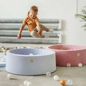 Round Foam Ball Pit For Children With 200 Balls in Black, Pink, Mint, Mint & Stars, Grey or Grey & Stars, Washable Cover. Custom Ball Colours. 90x30cm.