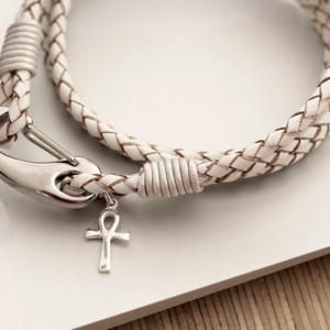 Ankh Cross White Leather Wristband in personalised gift box. Sterling Silver Ankh Key Of Life Egyptian hieroglyphic Symbol on genuine leather wristband.
