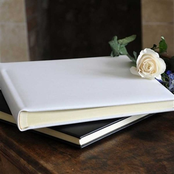 Wedding Album - Leather Wedding Album with 30 Hand-Bound Pages in Italian Pale Ivory Smooth Leather in sturdy Luxury Tissue Lined Presentation Box.